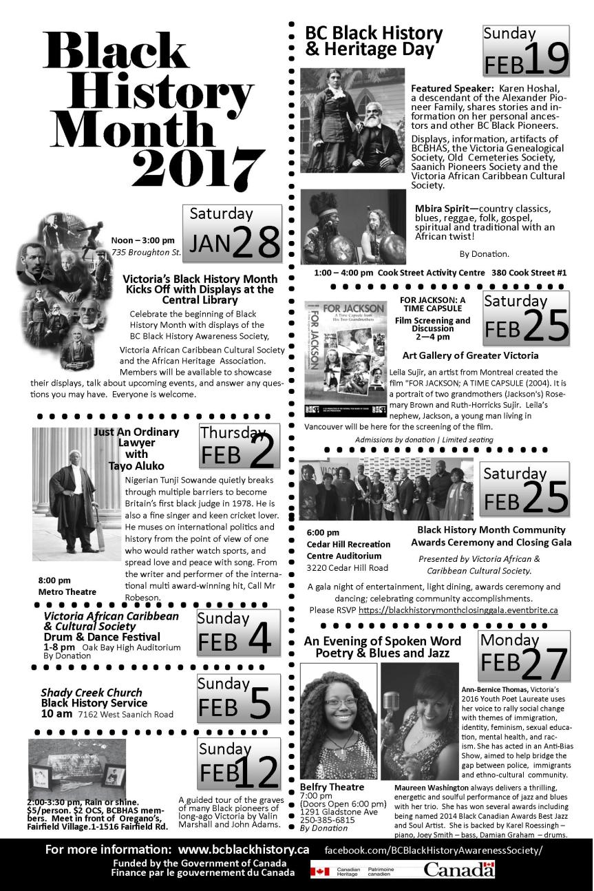 Black History Month Events in Victoria, Jan 28- Feb 27, 2017 c/o  BC Black History Awareness Society (BCBHAS)