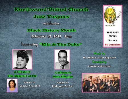"Concert: Tributes to""Ella at 100″ and ""The Duke""- February 12, 2017 @ Northwood United Church @ 4:00pm-5:15pm"