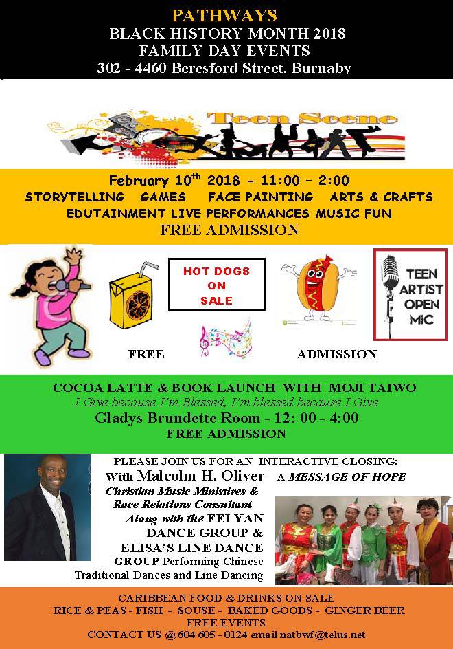 2018 Event:Community Event: BC Family Day Community Event (National Congress of Black Women Foundation)-  February 10, 2018  @ 11:00 am-4:00 pm @ Metrotown Community Center, 3rd Floor, 4460 Beresford Street, Burnaby, BC(Burnaby)