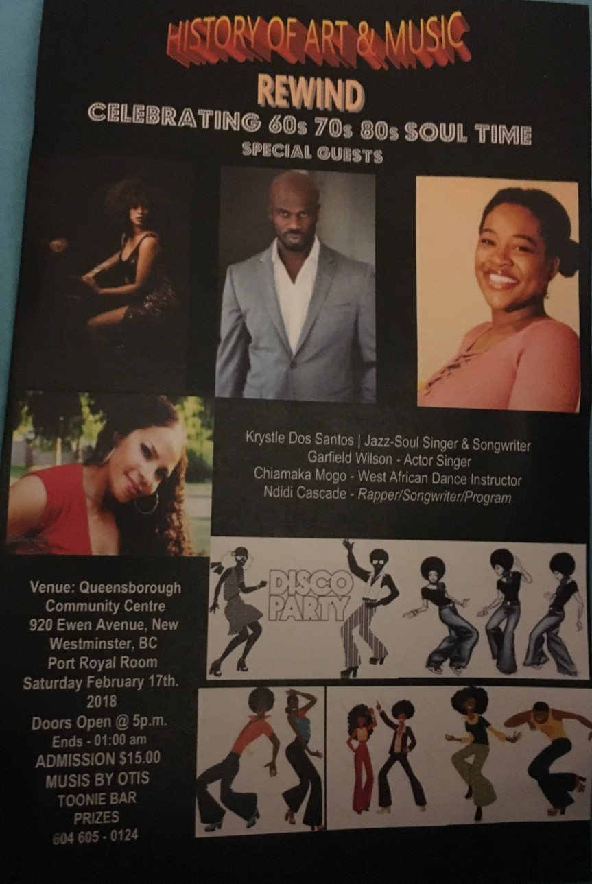 2018 Event:Community Event: History of Art & Music Rewind Celebrating 60s 70s 80s Soul Time – Feb 17, 2018 @ 5pm @ Queensborough Community Centre (NewWestminster)