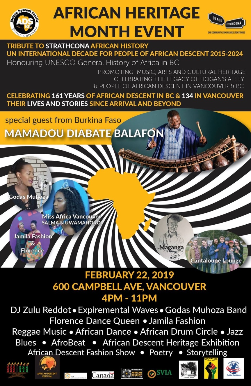 2019 Event -Community Event:  African Heritage Month Event –  February 22, 2019 @ 4:00pm-11:00pm @ 600 Campbell Ave, Vancouver, BC(Vancouver)