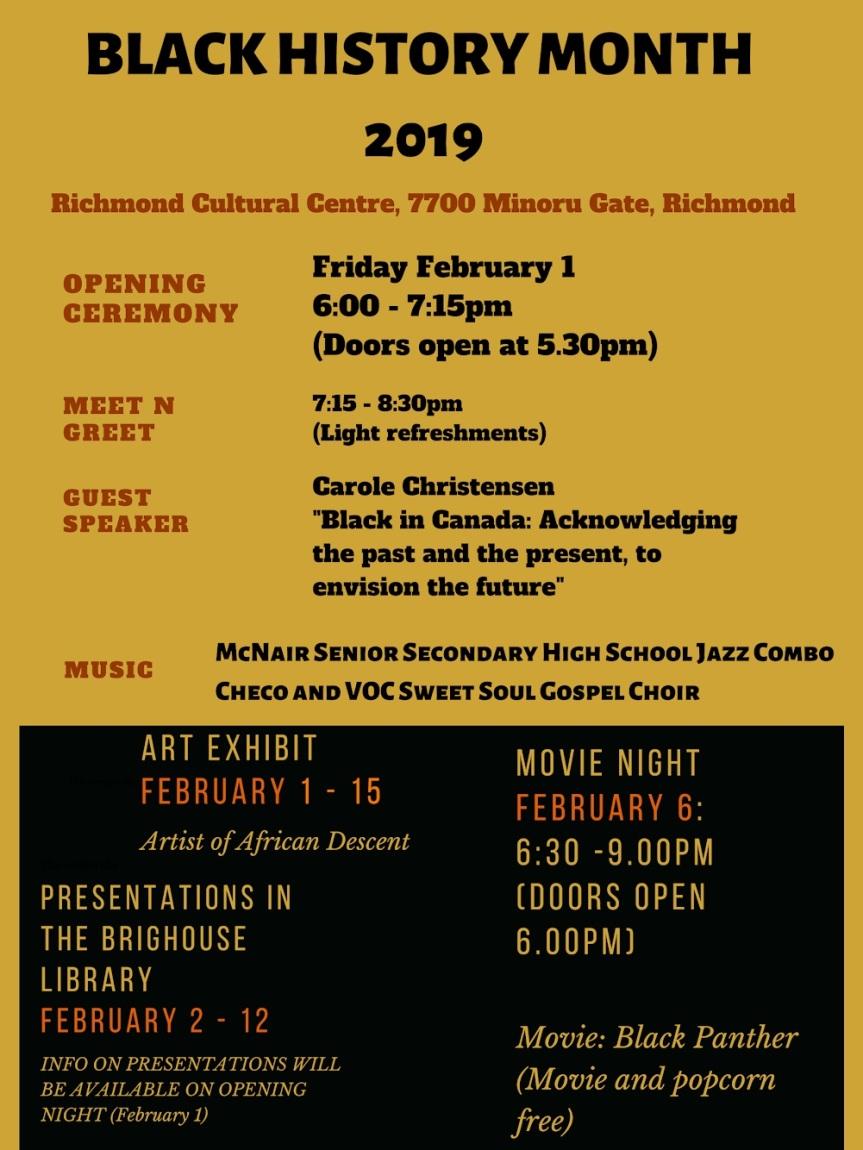 2019 Event -Community Event: Book Displays – Feb 1-28, 2019  @ Richmond Cultural Centre 7700 Minoru Gate(Richmond)