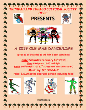 Community Event: Ole Mas Dance/Lime-February 16, 2019  @ 6:00pm @ Unifor Hall -707 12th Street (NewWestminster)