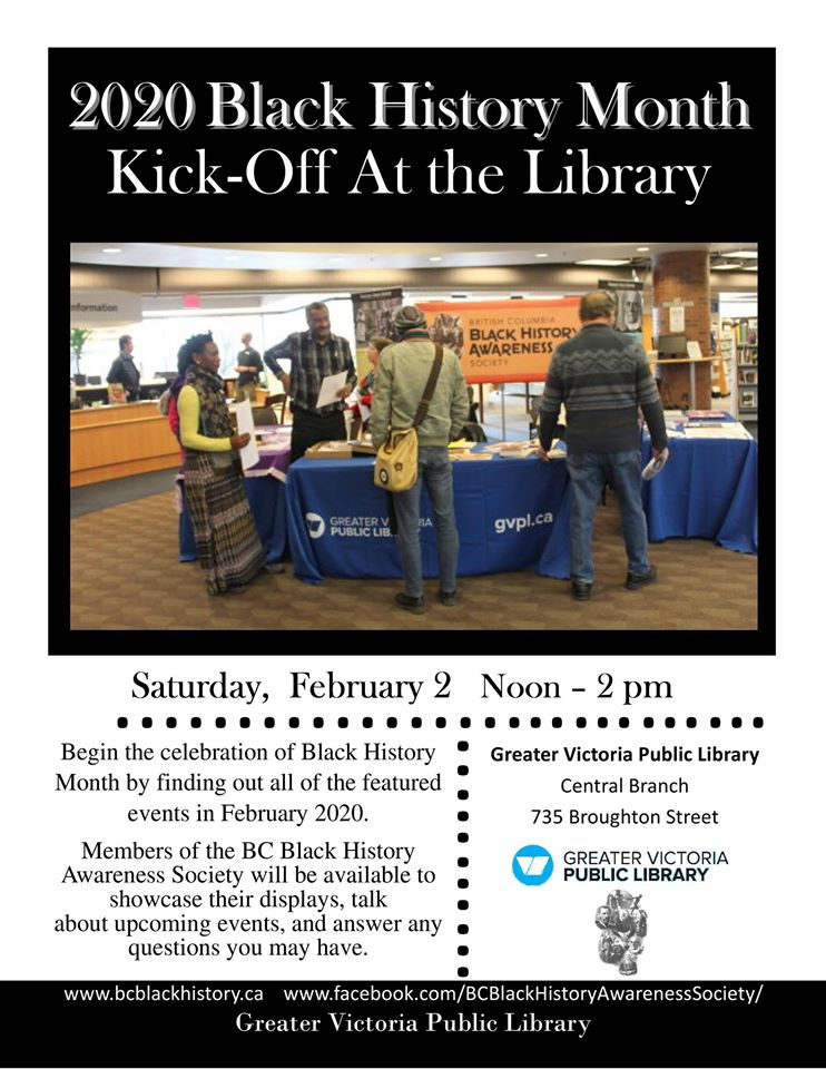 Community Event: 2020 Black History Month Kick Off at the Library @ February 2, 2020 @ 12:00 pm to 2:00 pm @ GVPL – Main Branch, 735 Broughton (Victoria)