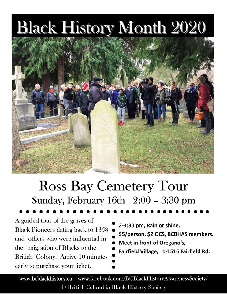 Community Event: 2020 BC Black History Month Cemetery Tour @ February 16, 2020 @ 2:00 pm to 3:30 pm @ Ross Bay Cemetery 1516 Fairfield Rd. (Victoria)