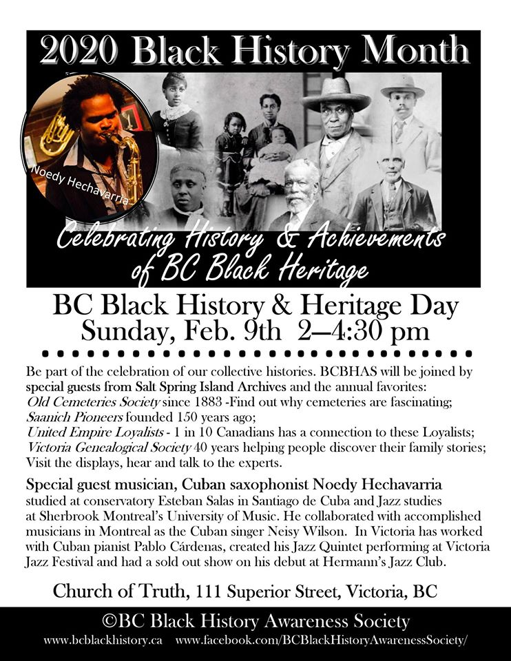 Community Event: BC Black History & Heritage Day @ February 9, 2020 @ 2:00 pm – 4:30pm @ Cook Street Village Activity Centre (Victoria)