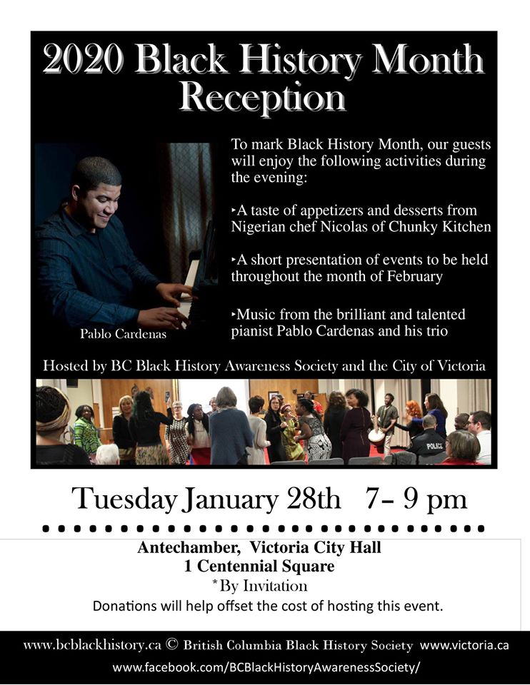 Community Event: BC Black History Month Reception @ January 28, 2020 @ Victoria City Hall- By invitation (Victoria)