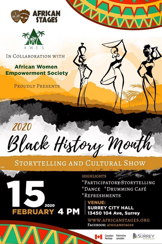 Community Event: 2020 Black History Month Storytelling & Cultural Show- Feb 15, 2020 @ 4:00pm @  Surrey City Hall, 13450 104 Avenue, (Surrey)