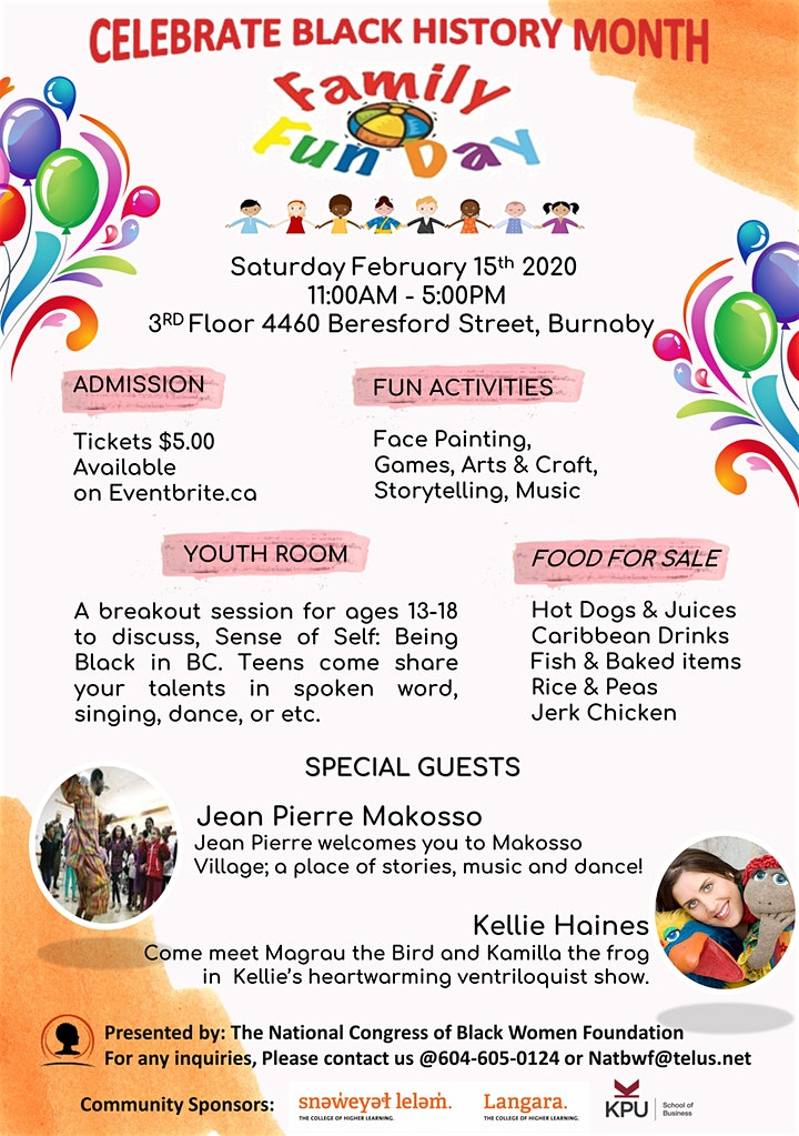 Community Event: National Congress of Black Women Foundation Family Fun Day-  February 15, 2020 @ 11am-5pm@ 3rd Floor; 4460 Beresford Street (Burnaby)