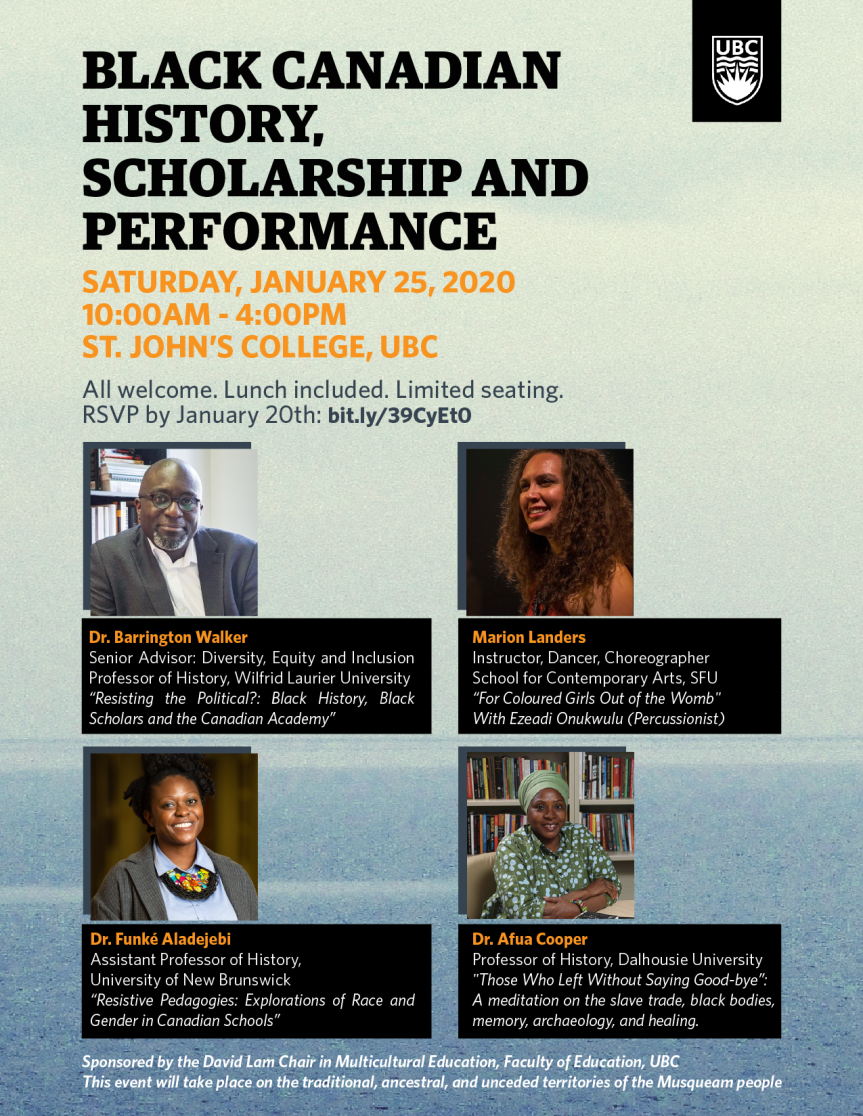 Community Event: Black Canadian History, Scholarship and Performance–  January 25, 2020 @ 10:00am-4:00pm @ St. John's College, UBC, 2111 Lower Mall(Vancouver)