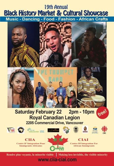 Community Event: 19th Annual Black History Market & Cultural Showcase – February 22, 2020 @ 2:00pm @ Royal Canadian Legion, 2205 Commercial Drive (Vancouver)