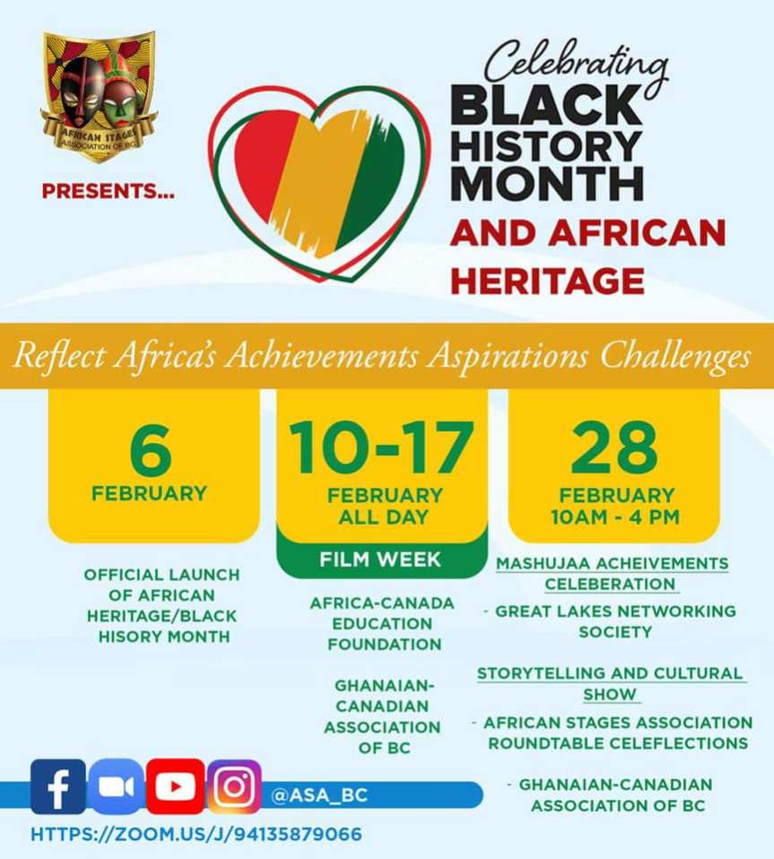 Virtual Event (Community Event):  Celebrating Black History Month and African Heritage –  February 28, 2021 @ 10:00am -[The African Stages Association (ASABC)]