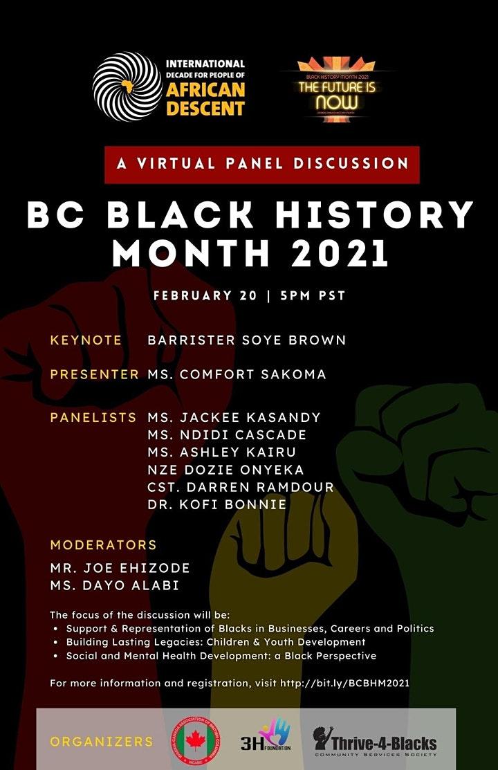 Virtual Event (Panel):  Vancouver Black History Month 2021– February 20, 2021 @ 5:00pm – [Thrive4Blacks, HeadHeartHand, NCABC]